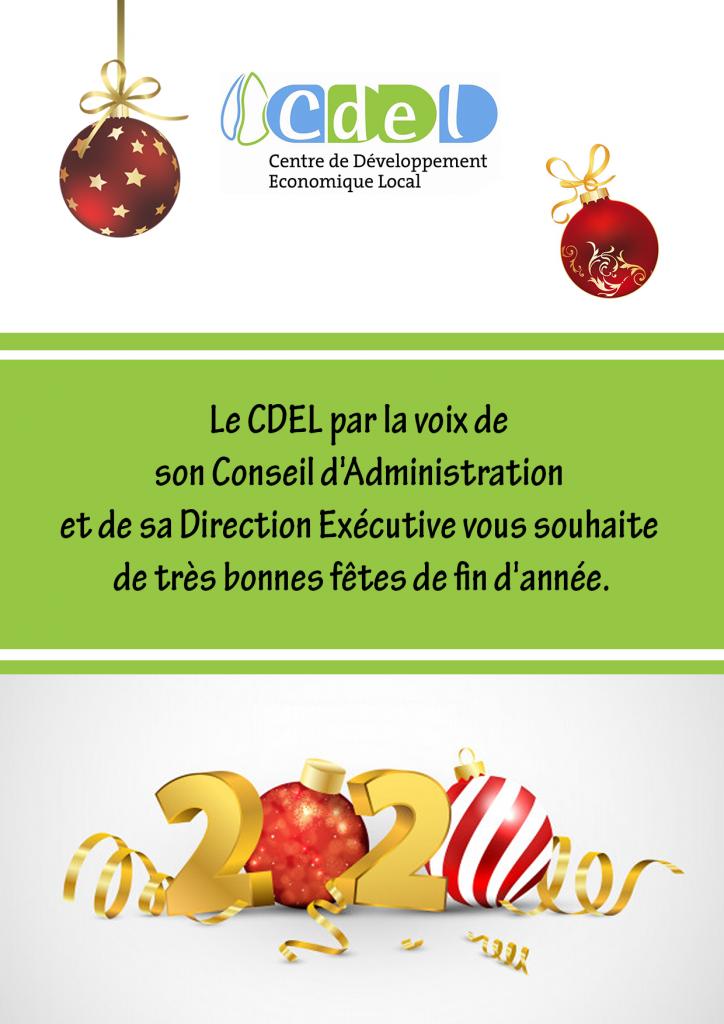 Le CDEL par la voix de son Conseil d'Administration et de sa Direction Exécutive vous souhaite de très bonnes fêtes de fin d'année